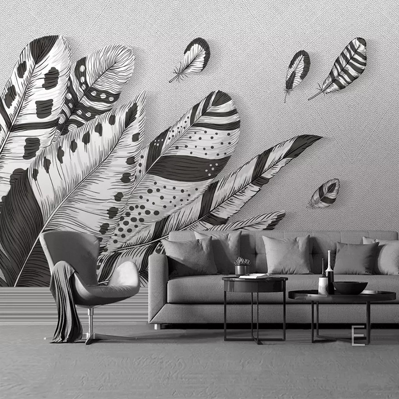 Us 9 22 45 Off Custom 3d Wall Mural Wallpaper Abstract Modern Black White Feather Photo Art Wall Painting Living Room Bedroom Restaurant Decor In
