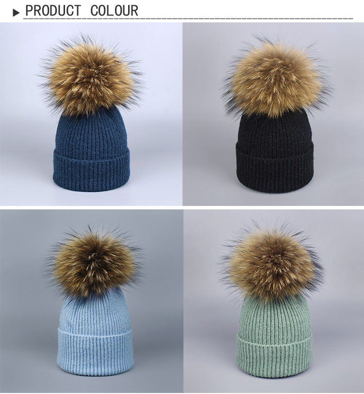 86137c50c Gorro de invierno grueso con pompones de piel de mapache 2017 Natural para  mujer gorro gorros tejidos Cashmere lana gorros de mujer