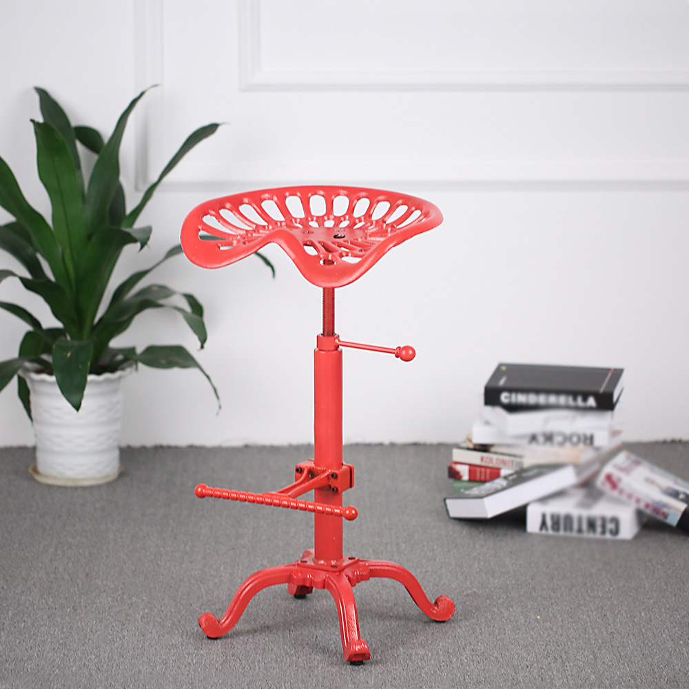 iKayaa Industrial Style Cast Iron Tractor Seat Bar Stool Adjustable Height Swivel Metal Barstool Chair Bar Stool US DE FR Stock