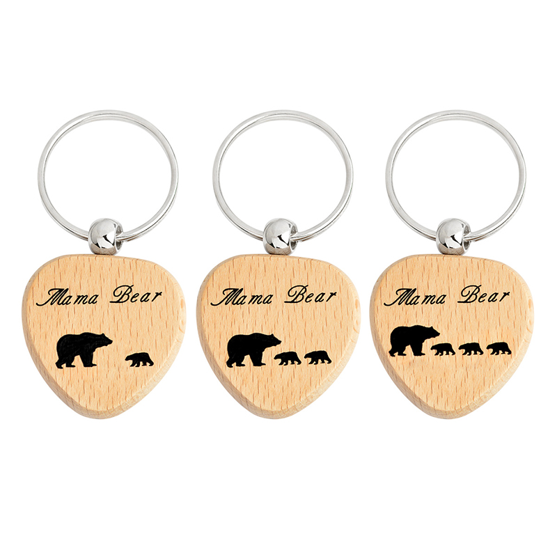 Mama Bear Keychain Wood 1-3 Bear Baby Key Chains Fashion Animal Love Keyring For Mother Mom Children Kids Family Jewelry Gift