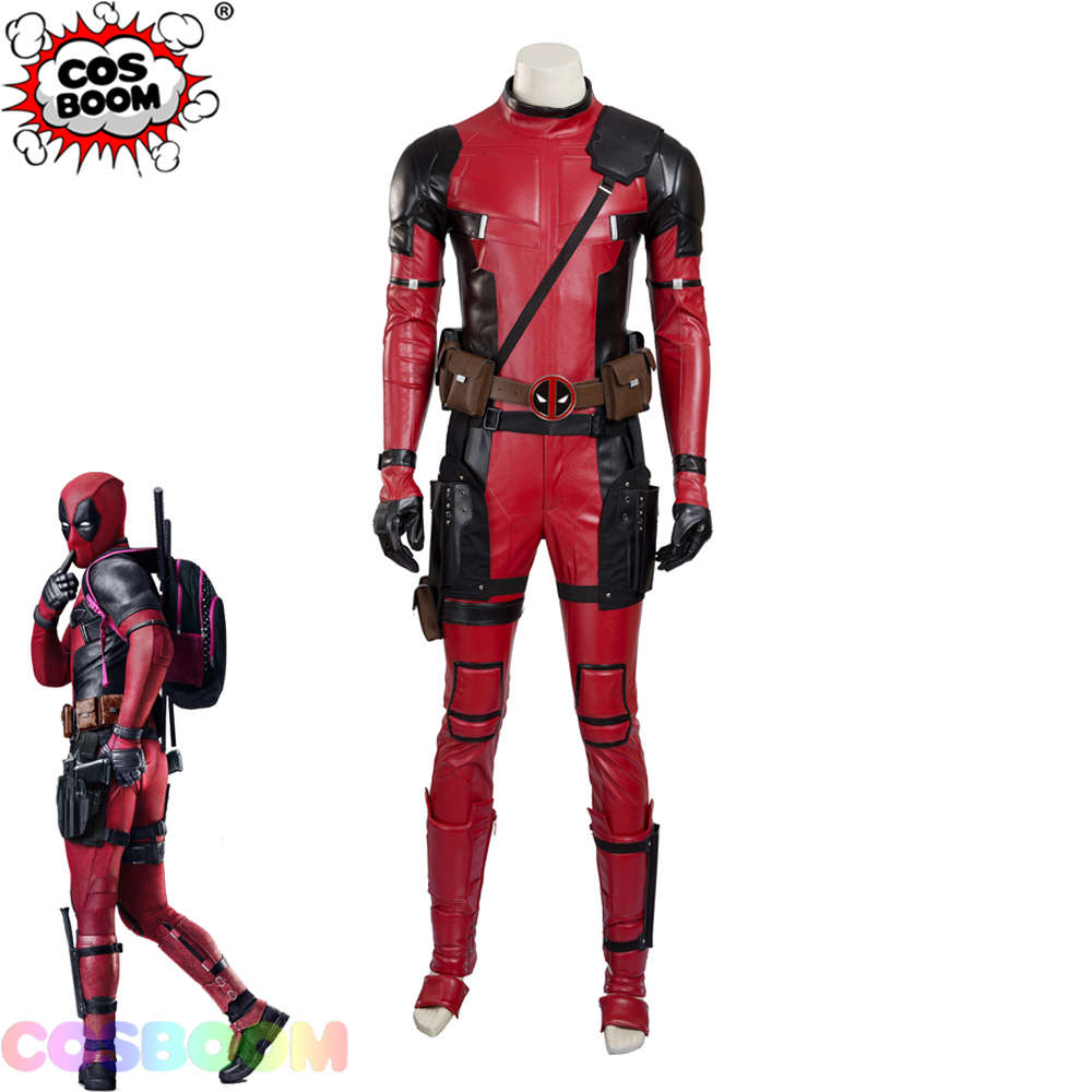 COSBOOM Deadpool Costume Adult Deadpool 2 Wade Wilson Cosplay Costume Men's Halloween Carnival Superhero Deadpool Red Jumpsuit