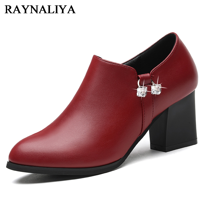 Shoes Women Pumps Square Pointed-Toe High-Heels Plus-Size Genuine-Leather Ladies New