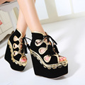 Free shipping 2017 European Spring new fashion peep toe Wedges pumps women lace-up shoes heel 16cm