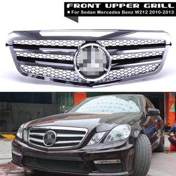 1Pcs Car Racing Grill For Mercedes Benz E-Class W212 2010-2013 Grille ABS Chrome Black Mesh Radiator Front Bumper Lower Modify Mercedes-Benz A-класс