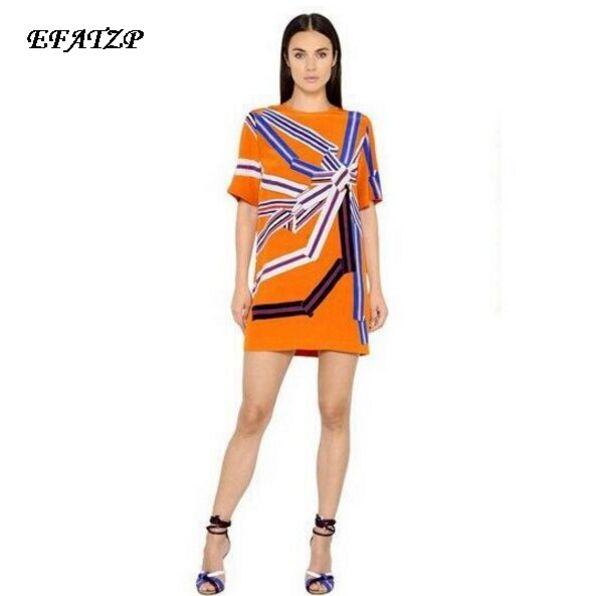 New 2017 summer Designer Luxury Women s Short sleeve Fashion Orange Geometric Print Plus Size XXL