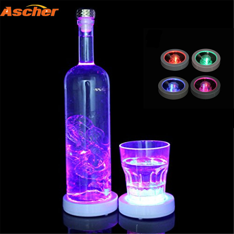 Mini LED Glow Bottle Sticker Coaster Flashing Cup Mat Blue Red Green White Multi Color Light Up Club Bar Home Wedding Party
