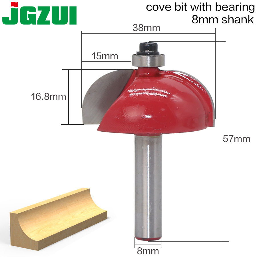 1pcs/set High Quality Cove Bit With Bearing 8mm Shank Cove Edging And Molding Router Bit - 7/8