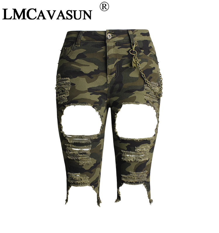 Bottoms Jeans Diplomatic Lmcavasun Camo Torn Bermuda Shorts Woman Mid Waist Stretchy Distressed Denim Camouflage Knee Length Shorts For Women