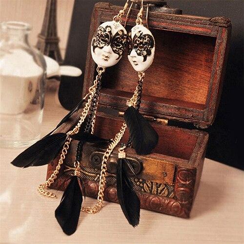 Women Bohemia Chain Feather Tassel Chain Earrings Mask Long Drop Earring Dangle Earrings Feather Leaves Pendant Piercing Jewelry