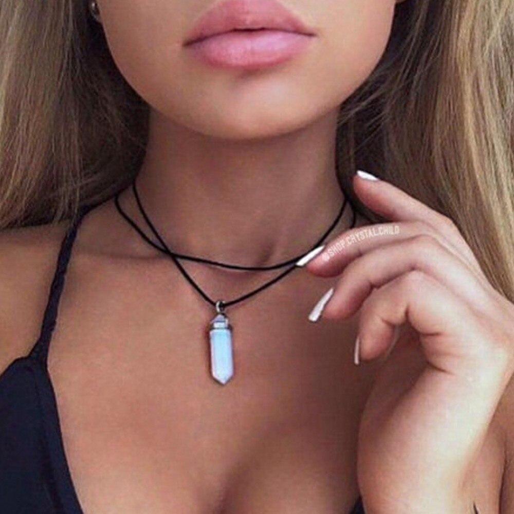 Новый стиль двойной Слои черные бархатные чокеры модные панк геометрическая опал Подвески Ожерелья для мужчин для Для женщин Boho вечерние украшения подарок