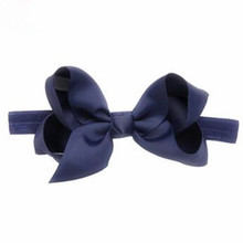 100pcs/lot Solid Color Big Bow Stretch Elastic Twist Knotted Headband