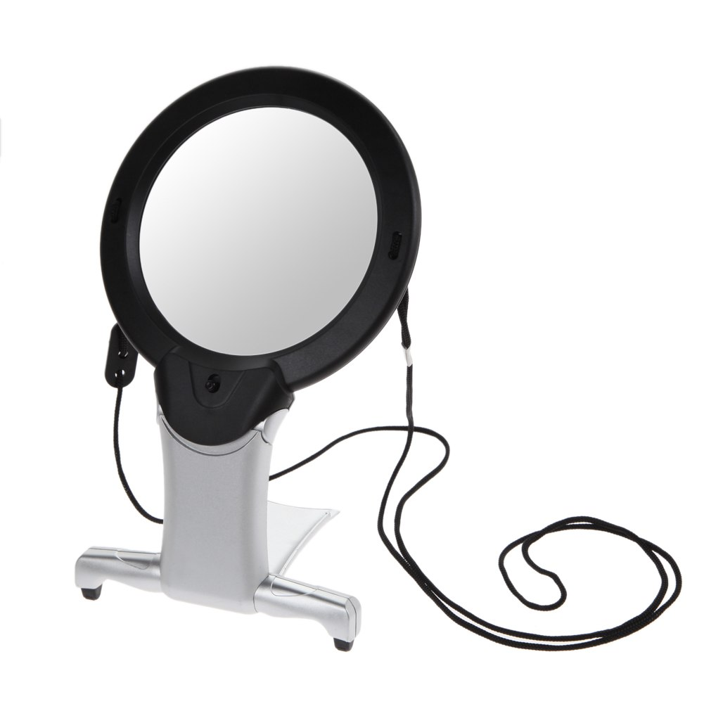 2.5X100mm LED Light Magnifier Magnifying Glass Mini Pocket Microscope Reading Jewelry Loupe Neck Hung Hard Resin Lens