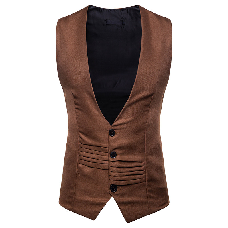 New V-neck Single-breasted Irregular Design Men's Suit Vest MJ0001