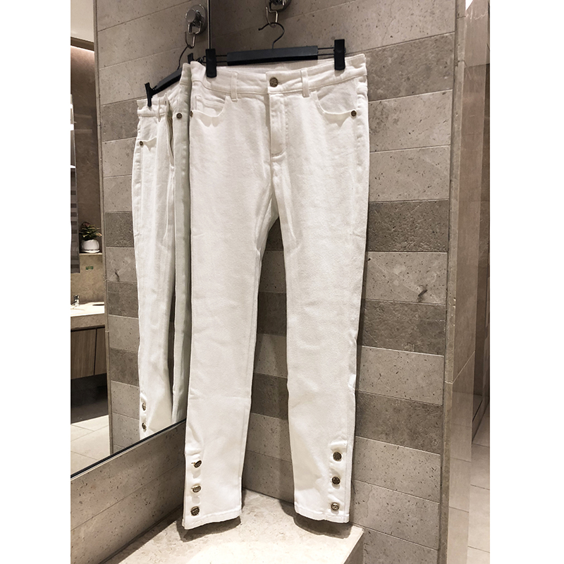 Early spring new 2019 women's button decoration casual stretch pants white   jeans