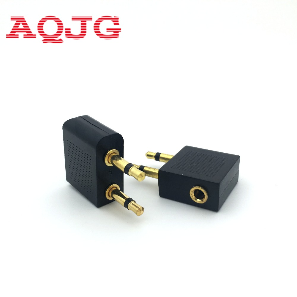 2pcs Airline Airplane Earphone Headphone Headset Jack Audio Adapter 3.5mm AQJG