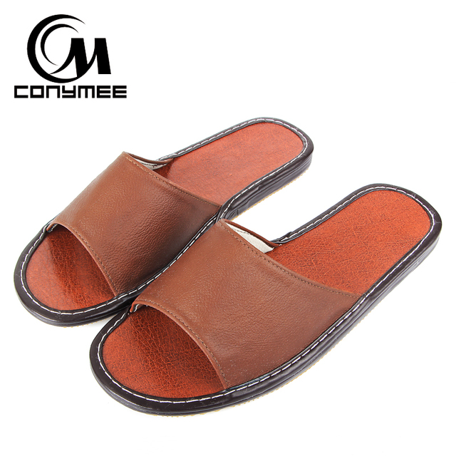 35b42bdaa CONYMEE Genuine Leather Casual Shoes Summer Sandals Men Big Size Sneakers  For Home Indoor Slippers Flip Flops Mens Flat Slipper