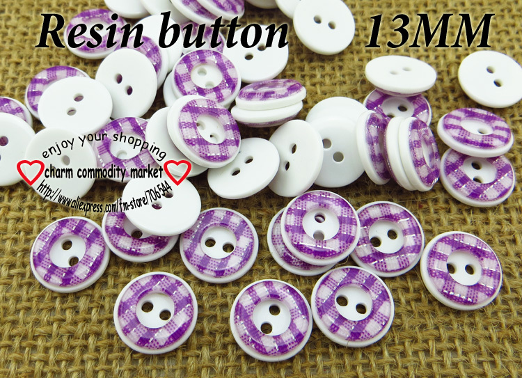 100PCS 13MM purple Sequins RESIN buttons coat boots sewing clothes accessories R-103