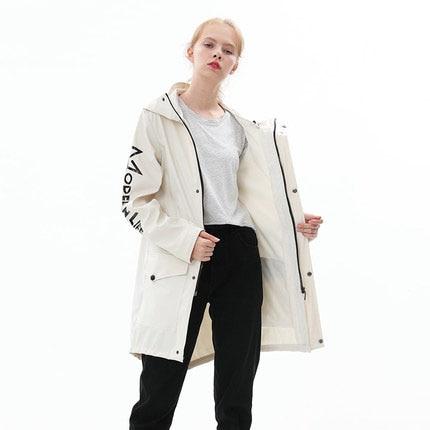 Women Men Fashion Raincoat Waterproof Rain Outdoor Travel Clothes Raincoat Poncho Hooded Knee Length Rainwear Rain Gear 3DYY02