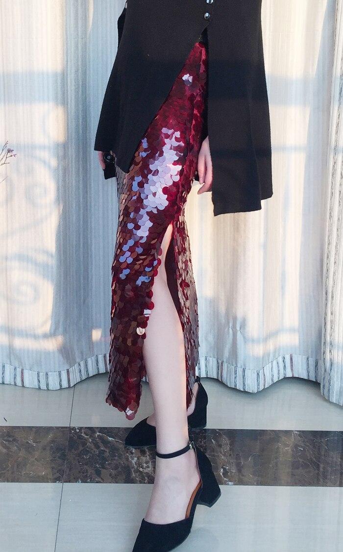 Taille Sexy Mode Haute Poissons Jupe Paillettes Bling Éclat Élastique Échelle Club Piste Femmes De Élégant Fringe Parti q1nCqY