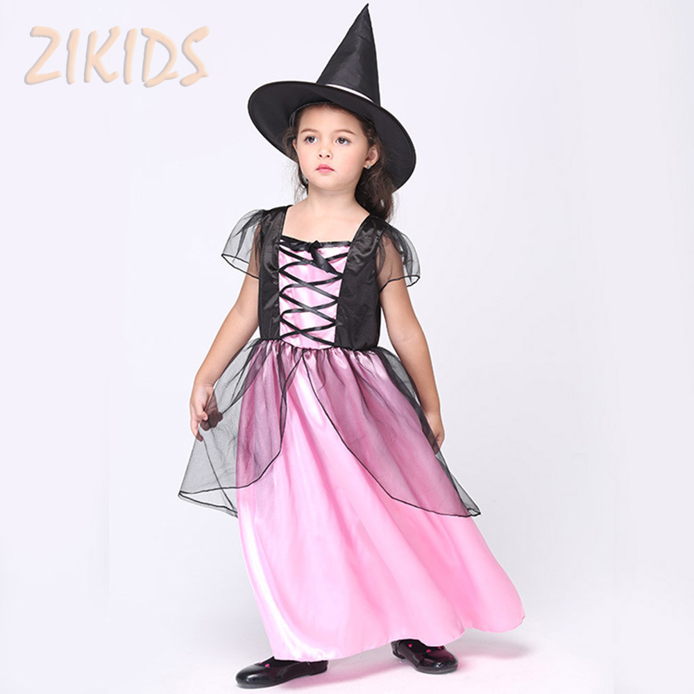 Kids Halloween Witch Cosplay Performance Costume Girls Clothing Sets Children Carnival Party Masquerade Dance Dress( Hat+Dress)
