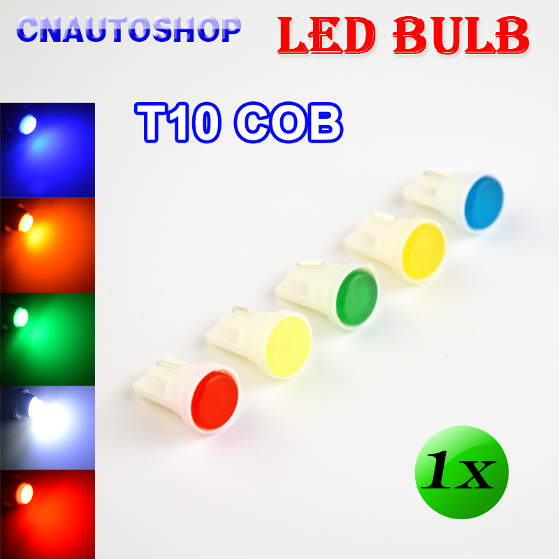 Flytop 1 x T10 COB LED Bulb White / Yellow / Green / Blue / Red Color 194 W5W Car Rear Light Automotive Lamp