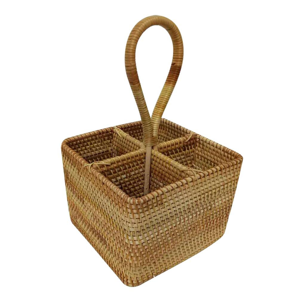 Wicker Straw Hand-woven Storage Basket Portable Four Compartment Classification Storage Fruit Basket Home Festival Storage