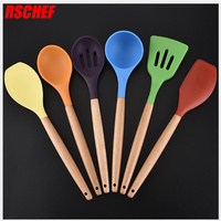 6Pcs/set Cooking Utensils Set Food Grade Silicone Wood Non stick Heat Resistant Kitchen Cooking Tools Kit Gadgets Tableware