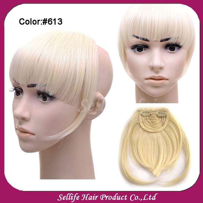 Fashion Girls New Clip On Front Neat Bang Fringe Hair Extensions For