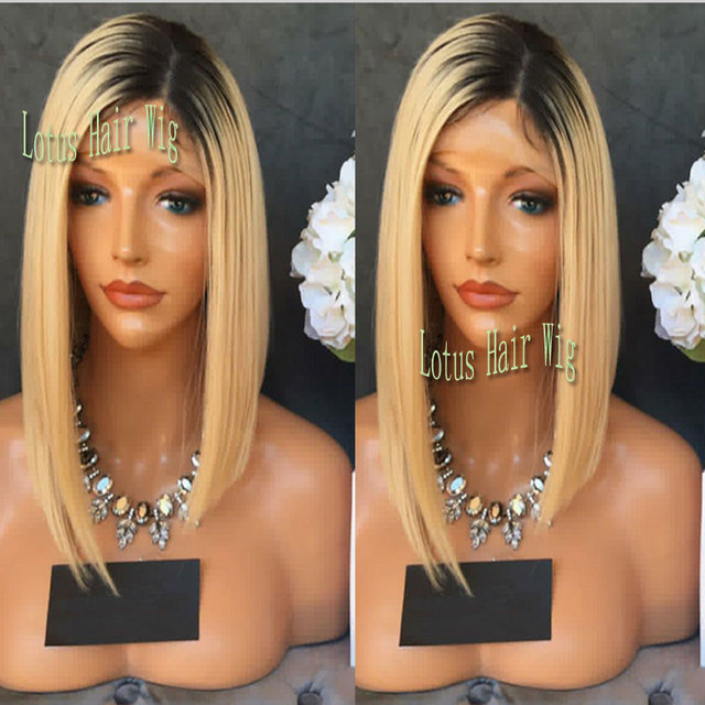 Synthetic Lace Front Wig Ombre Blonde Straight Short Bob Wigs Dark