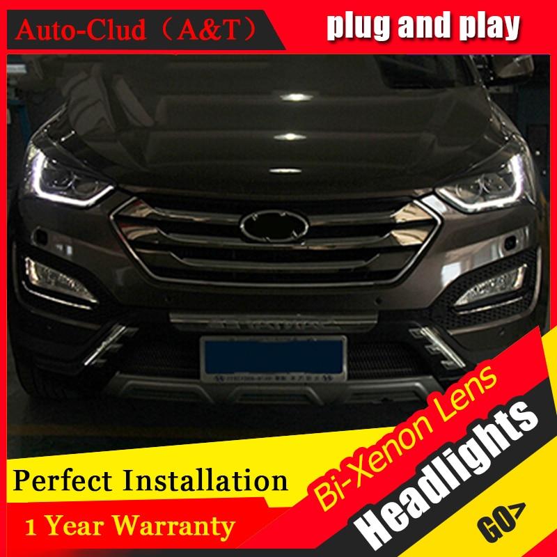 Auto Clud 2013-2014 For Hyundai IX45 headlights led head lamps fog lamp bi xenon lens LED bar For Hyundai Santafe DRL car stylin stylin basecoat в москве