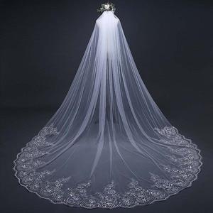 3 metry biała kość słoniowa katedra welon ślubny koronkowa krawędź welon z grzebieniem kwiatowa opaska ślub panny młodej welon akcesoria do włosów SL