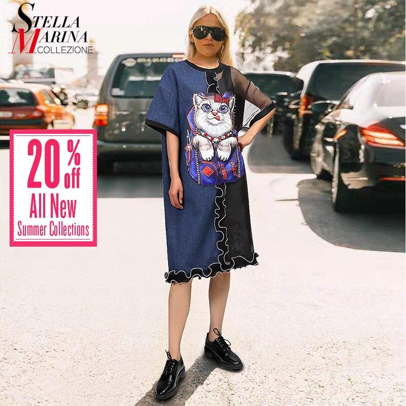 2019 European Fashion Women Summer Denim Dress Organza Patchwork Cat Cartoon Printed Patches Ladies Plus Size Midi Dresses 4903