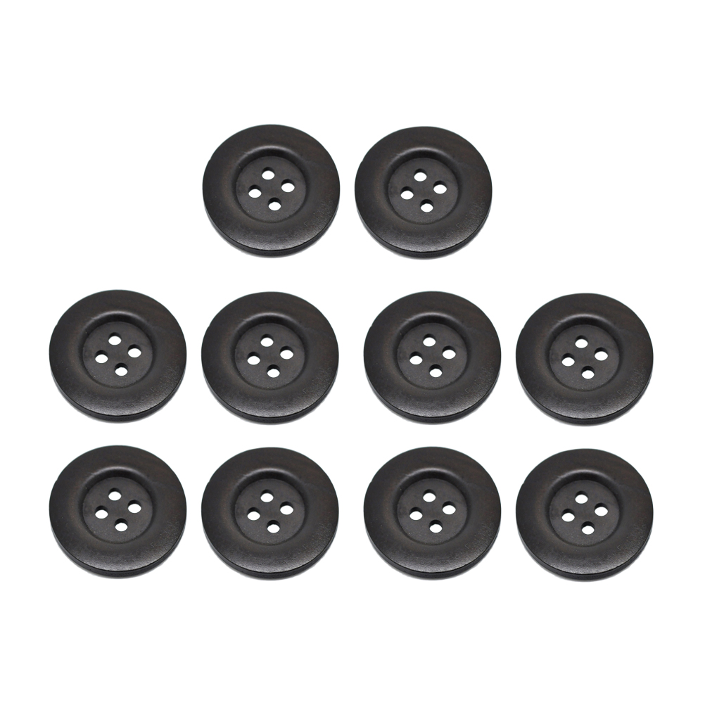 10 pcs <font><b>50MM</b></font> <font><b>Buttons</b></font> Dark Coffee Wooden Round Four Holes Fastener <font><b>Buttons</b></font> for DIY Craft Sewing Scrapbook Kniting image
