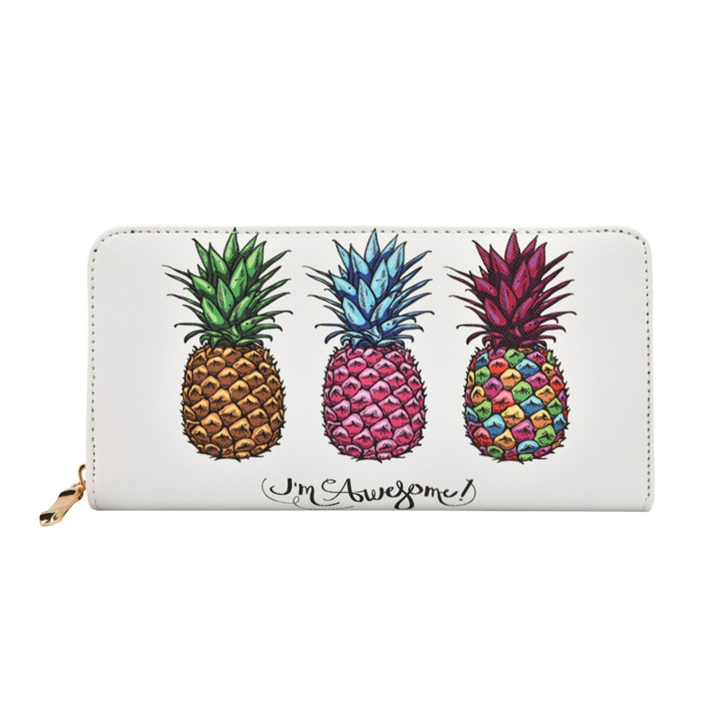 Colorfull Pineapple Printed Summer Women Long Wallet PU Leather Phone Pocket Ladies Card Holder Bag Girls Zipper Coin Purse japan anime pocket monster pokemon pikachu cosplay wallet men women short purse leather pu coin card holder bag
