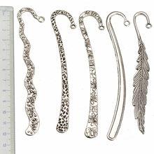 Bookmarks Papelaria Escritório Fornecedores Acessórios Para Artesanato DIY Encantos Jóias De Prata Pena Grande Curva Componentes 5 pcs