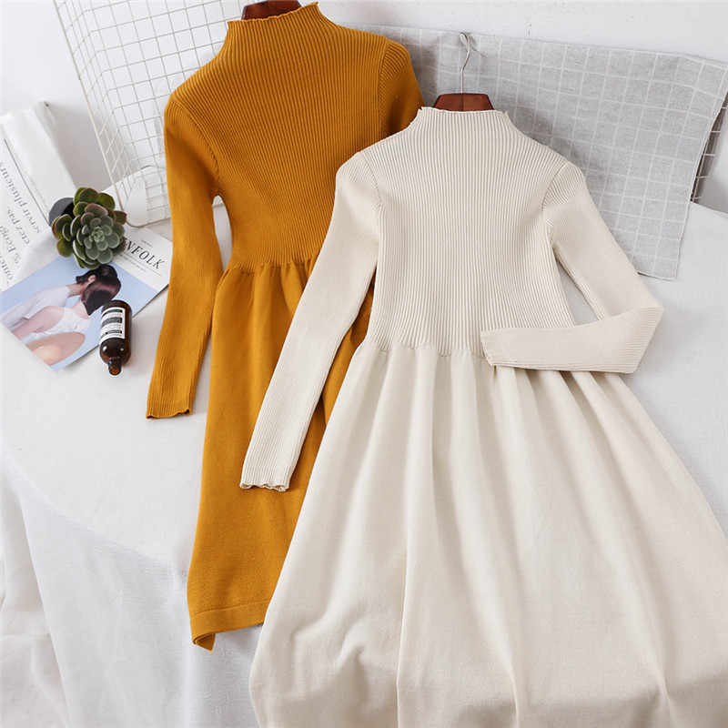 0a3d9fa57ea New Long Sleeve Turtleneck Knitted Dress Women Casual Autumn Winter Sweater  Dress Female Sexy Elegant Pullover