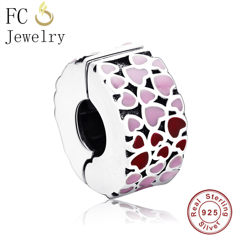 969c286d0250 FC Jewelry Fits Original Pandora Charms Bracelets 925 Sterling Silver  Enamel heart Beads Clip Stopper for making DIY Berloque