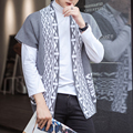 2016 Foreign Trade Men's Vest Cardigan Sweater Retro Printed Knitted Sweaters For Men Loose Style Sweater Waistcoat