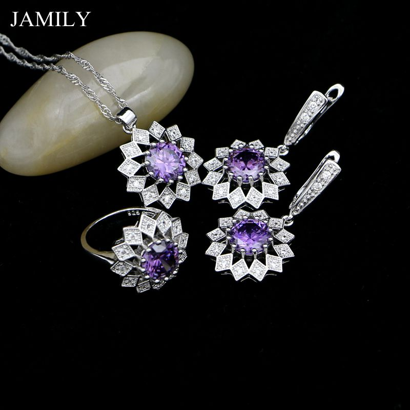 JAMILY 925 Sterling Silver Necklace/Drop Earrings/Pendant/Ring Purple Cubic Zirconia Fashion Jewelry Sets For Women