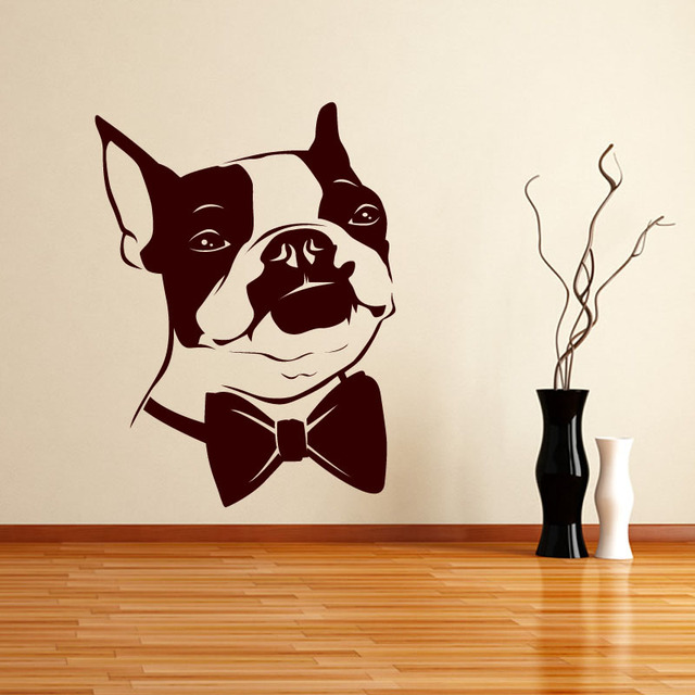 Bow Tie Puppy Wall Sticker Home Decor Kids Room Paper Removable Bedroom Declas Funny Boston