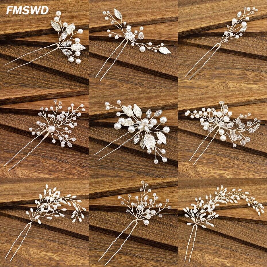Mode Damen Vielzahl Von Strass Haarnadel Braut Haar Zubehör Handgemachte Nachahmung Perlenkette Prinzessin Haarnadel Hochzeit Kopfschmuck