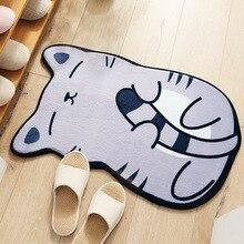 New Cartoon Lovely Dogs Cats Print Carpets Anti-slip Flannel Floor Mat Outdoor Rugs Animal Front Door Mats 50x80cm Kid Bathroom