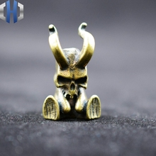 New Pure Brass Little Devil Knife Pendant Ornaments Lanyard Umbrella Rope Car Keychain Silver EDC