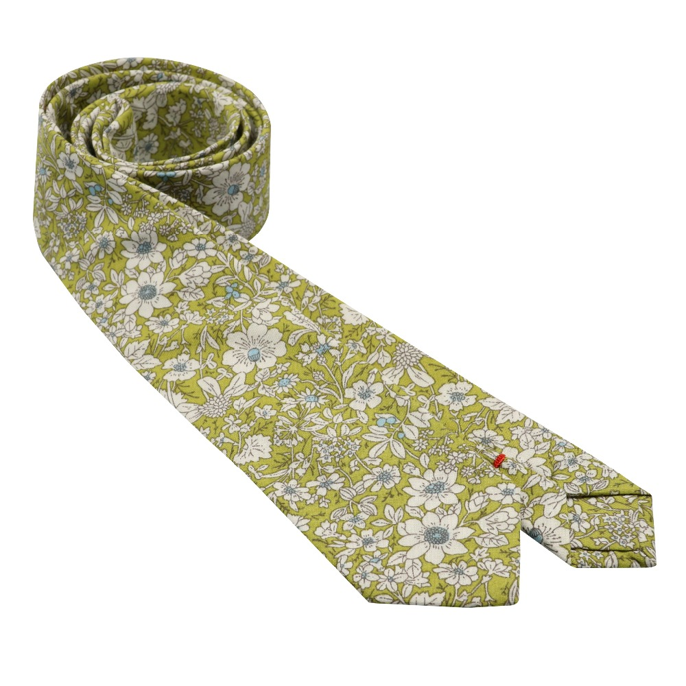 Lime Green Cotton Skinny Tie