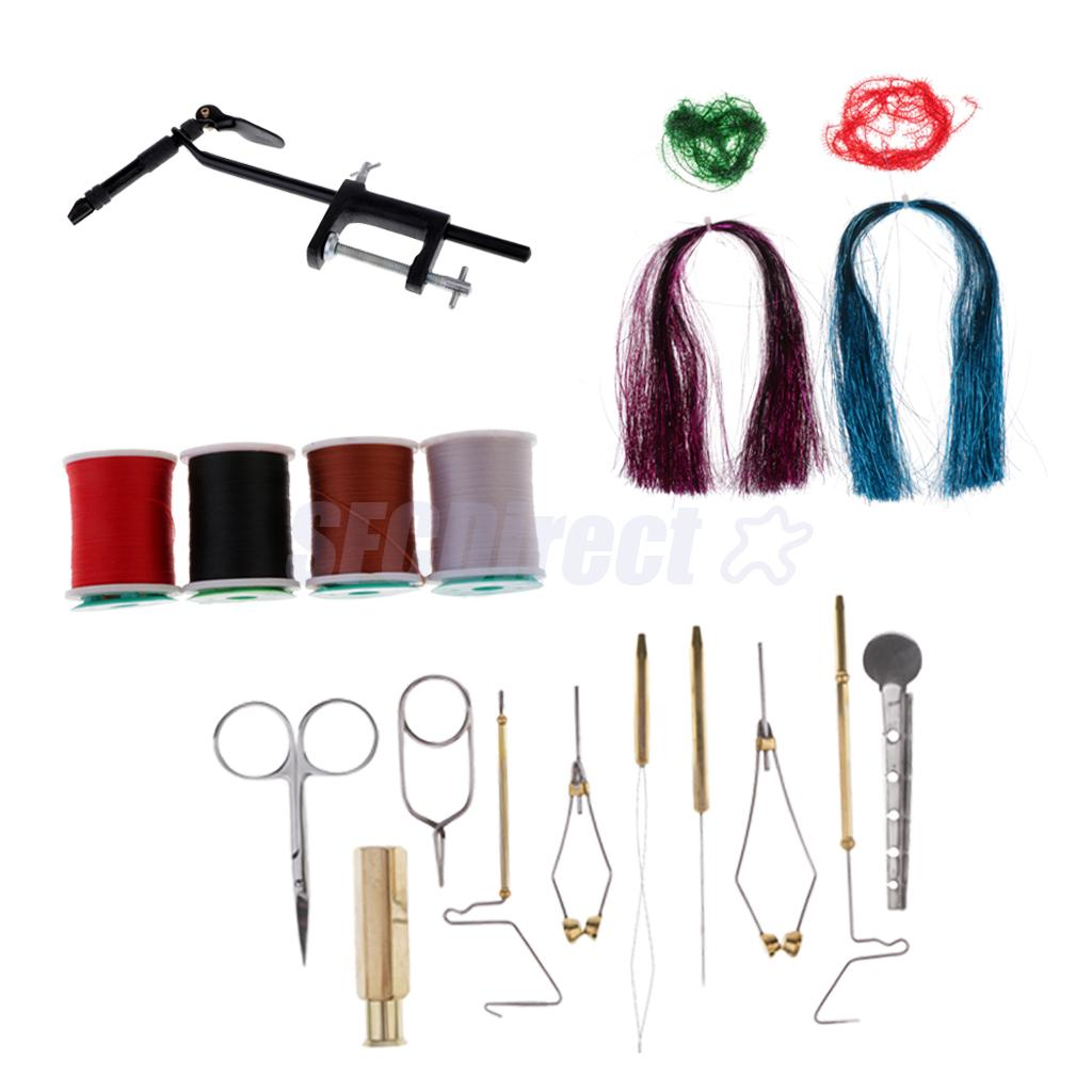 Fly Tying Tools and Fly Tying Materials Set Fly Tying Vise and Accessories Whip Finisher Bobbins