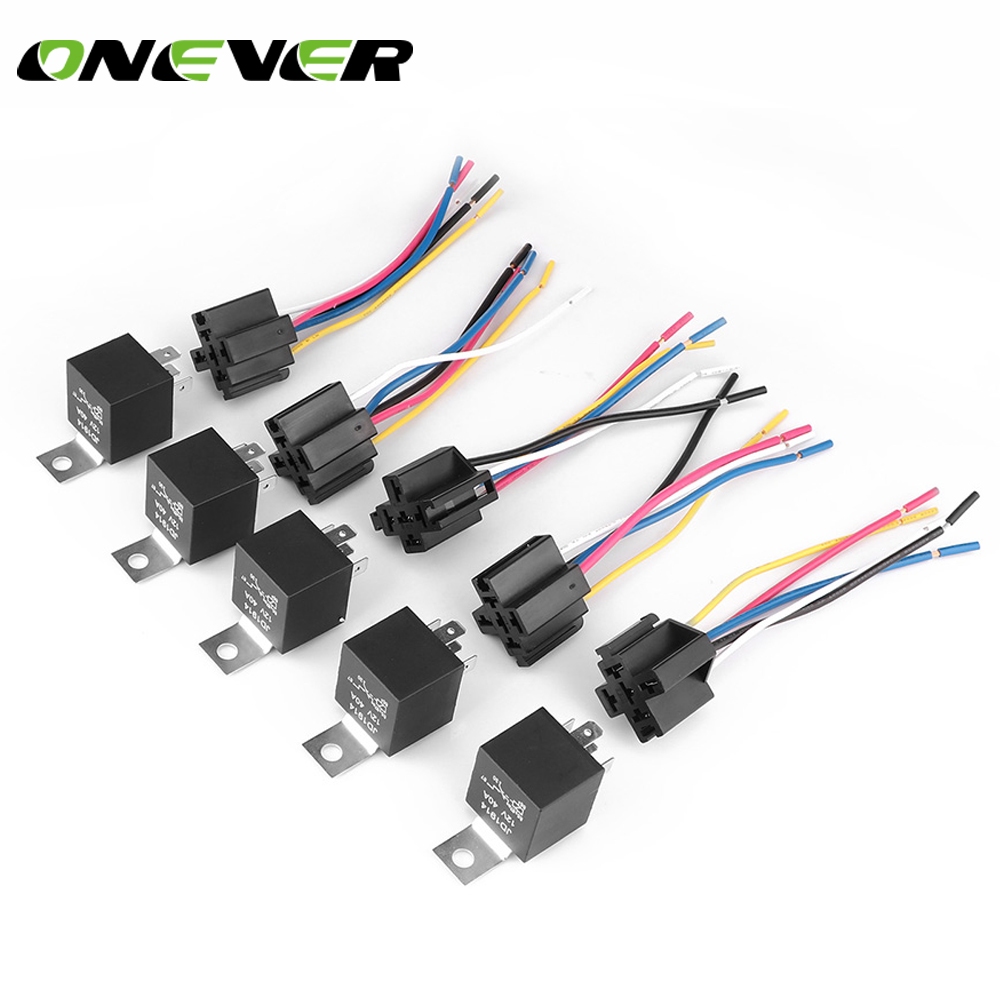 5 Pack 40  30 Amp 5 Pin Car Spdt Automotive Relay 5 Wires With Interlocking Harness Socket And