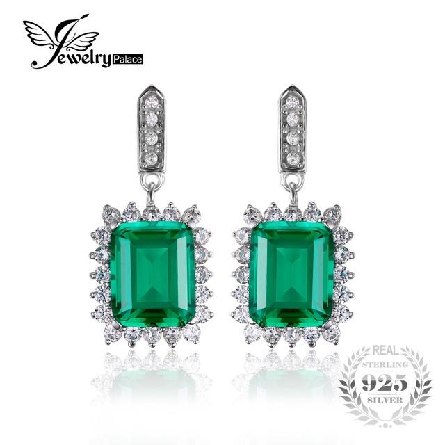 Jewelrypalace luxo 10.8ct nano rússia criado esmeralda oscila brincos sólido 925 prata esterlina brincos de jóias para as mulheres