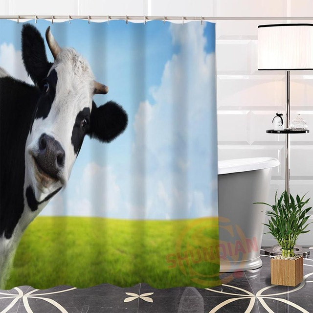 100 Polyester Custom Popular Cows Fabric Modern Shower Curtain Bathroom With Hooks New Arrival H0223