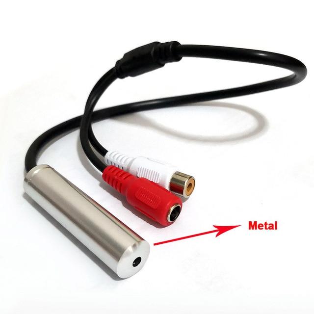 ميكروفون CCTV لتسجيل الصوت مع تيار مستمر ومنفذ av نطاق واسع جهاز ميكروفون الصوت CCTV معدني عالي الحساسية للأمن CCTV DVR