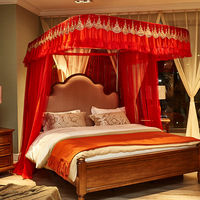 2018 Red Wedding U type Palace style Guide rail mosquito net three open door telescopic electric mosquito net 1.8m 1.5m 2m bed